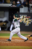 Siena Saints left fielder Chris Davignon (15) during a game against the UCF Knights on February 17, 2017 at UCF Baseball Complex in Orlando, Florida.  UCF defeated Siena 17-6.  (Mike Janes/Four Seam Images)