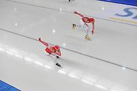SCHAATSEN: BERLIJN: Sportforum, 06-12-2013, Essent ISU World Cup, Team Russia, 500m Men Division B, Denis Koval, Aleksey Yesin, ©foto Martin de Jong