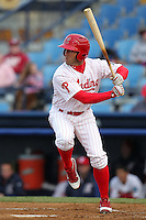 Reading Phillies outfielder Steve Susdorf #25 during a game against the New Hampshire Fisher Cats at FirstEnergy Stadium on April 10, 2012 in Reading, Pennsylvania.  New Hampshire defeated Reading 3-2.  (Mike Janes/Four Seam Images)