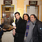 """Andy Karl, Barrett Doss, and Danny Rubin with Staten Island Chuck visit the """"Groundhog Day'' opening day box office at The August Wilson Theatre on February 2, 2017 in New York City."""