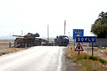 "GAZIANTEP, TURKEY - AUGUST 30 : Turkish military tanks and armored vehicles is seen near Turkish-Syrian border in Gaziantep, Turkey during the ""Operation Euphrates Shield"" led by Turkish Army and backed by Syrian National Coalition forces including Free Syrian Army (FSA) on August 30, 2016. The anti-Daesh operation, called Euphrates Shield, is aimed at clearing terrorist groups from the Turkish border region in Syria, tightening border security, and supporting Syria?s territorial integrity. Ensar Ozdemir / Anadolu Agency  