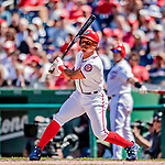23 August 2018: Washington Nationals infielder Wilmer Difo in action against the Philadelphia Phillies at Nationals Park in Washington, DC. The Phillies shut out the Nationals 2-0 to take the 3rd game of their 3-game mid-week divisional series. Mandatory Credit: Ed Wolfstein Photo *** RAW (NEF) Image File Available ***