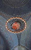 Los Angeles: L.A. Public Library. Chandelier in Rotunda. Photo '96.