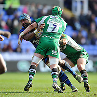 Tevita Cavubati of Worcester Warriors takes on the London Irish defence. Aviva Premiership match, between London Irish and Worcester Warriors on February 7, 2016 at the Madejski Stadium in Reading, England. Photo by: Patrick Khachfe / JMP