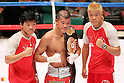 (L to R) Daiki Kameda (JPN),Koki Kameda (JPN), Tomoki Kameda (JPN), AUGUST 31, 2011 - Boxing : Koki Kameda of Japan celebrates after wining during the WBA Bantam weight title bout at Nippon Budokan, Tokyo, Japan. Koki Kameda of Japan won the fight on points after twelve rounds. (Photo by Yusuke Nakanishi/AFLO SPORT) [1090]