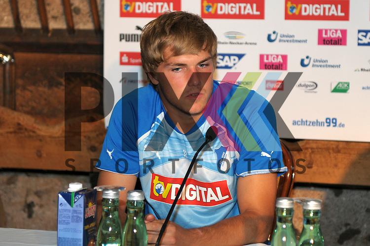 Leogang &Ouml;sterreich 30.07.2010, 1.Fu&szlig;ball Bundesliga, TSG 1899 Hoffenheim,  Hoffenheims Robin Neubert bei der Pressekonferenz<br /> <br /> Foto &copy; Rhein-Neckar-Picture *** Foto ist honorarpflichtig! *** Auf Anfrage in h&ouml;herer Qualit&auml;t/Aufl&ouml;sung. Belegexemplar erbeten. Ver&ouml;ffentlichung ausschliesslich f&uuml;r journalistisch-publizistische Zwecke.