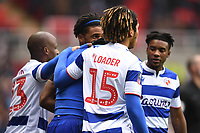 25th January 2020; Madejski Stadium, Reading, Berkshire, England; English FA Cup Football, Reading versus Cardiff City; Yakou Meite of Reading celebrates with his team after scoring in the 8th minute 1-1