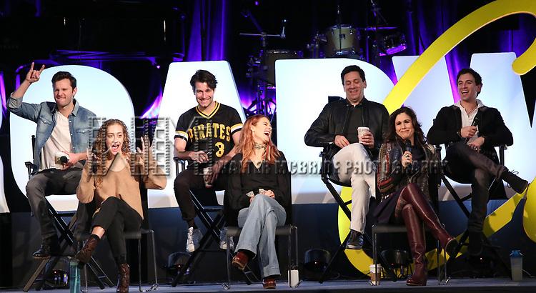 Matthew Hydzik, Micaela Diamond, Michael Campayno, Teal Wicks, Michael Berresse, Stephanie J. Block and Jarrod Spector on stage during Broadwaycon at New York Hilton Midtown on January 11, 2019 in New York City.