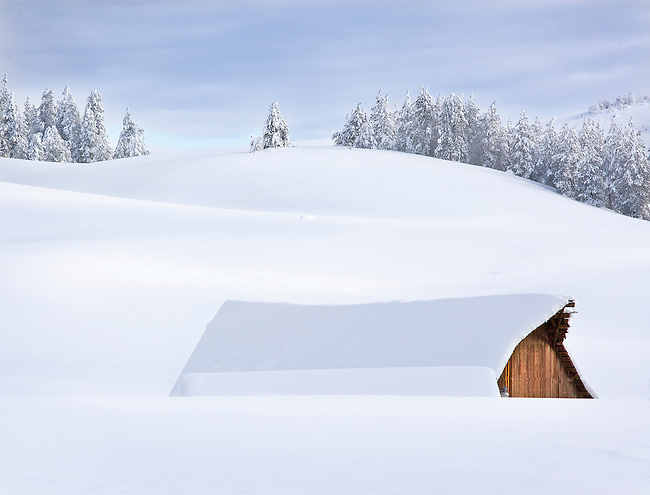 snow blanketed barn and fields, Eastern WA.