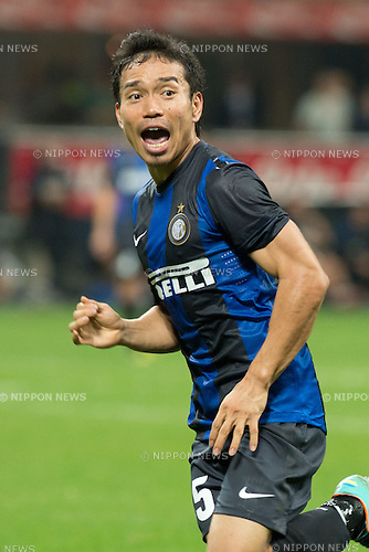 "Yuto Nagatomo (Inter), SEPTEMBER 30, 2012 - Football / Soccer : Italian ""Serie A"" match between Inter Milan 2-1 Fiorentina at Stadio Giuseppe Meazza in Milan, Italy. (Photo by Enrico Calderoni/AFLO SPORT) [0391]"