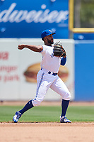 Dunedin Blue Jays shortstop Richard Urena (43) throws to first base during a game against the Daytona Tortugas on April 22, 2018 at Dunedin Stadium in Dunedin, Florida.  Daytona defeated Dunedin 5-1.  (Mike Janes/Four Seam Images)