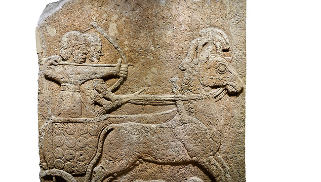 Hittite relief sculpted orthostat stone panel of Long Wall Limestone, Karkamıs, (Kargamıs), Carchemish (Karkemish), 900 - 700 B.C. Anatolian Civilisations Museum, Ankara, Turkey<br /> <br /> Chariot. One of the two figures in the chariot holds the horse's headstall while the other throws arrows. There is a naked enemy with an arrow in his hip lying face down under the horse's feet It is thought that this figure is depicted smaller than the other figures since it is an enemy soldier. The lower part of the orthostat is decorated with braiding motifs. . <br /> <br /> On a White Background.