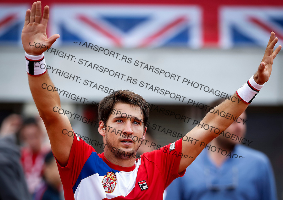 BELGRADE, SERBIA - JULY 16: Dusan Lajovic of Serbia celebrates victory over James Ward of Great Britain after the Davis Cup Quarter Final match between Serbia and Great Britain on Stadium Tasmajdan on July 16, 2016 in Belgrade, Serbia. (Photo by Srdjan Stevanovic/Getty Images)