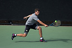 Julian Zlobinsky of the Wake Forest Demon Deacons stretches for the ball during the match against the fg\ at #5 singles at the Wake Forest Tennis Center on March 30, 2018 in Winston-Salem, North Carolina.  The Gators defeated the Demon Deacons 4-3.  (Brian Westerholt/Sports On Film)