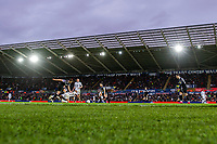 Andre Ayew of Swansea City is fouled by Craig Forsyth of Derby County during the Sky Bet Championship match between Swansea City and Derby County at the Liberty Stadium in Swansea, Wales, UK. Saturday 08 February 2020