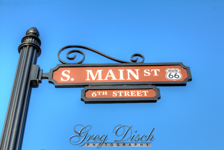 New street signs on Route 66 or Main Street in Galena Kansas.