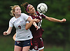 Emma Madden #9 of South Side, left, and Cailey Welch #10 of North Shore battle for possession during a Nassau County AB1 varsity girls soccer game at North Shore High School on Friday, Sept. 14, 2018. South Side won by a score of 2-0.