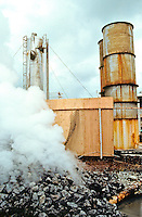 Toxic steam vents from a  processing unit at the HGPA Geothermal well on the Big Island of Hawaii.