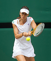 Tsvetana Pironkova (BUL) against Vera Zvonareva (RUS) (21) in the semi-finals of the ladies singles. Vera Zvonareva beat Tsvetana Pironkova 3-6 6-3 6-2   ..Tennis - Wimbledon Lawn Tennis Championships - Day 11 Fri 2nd Jul 2010 -  All England Lawn Tennis and Croquet Club - Wimbledon - London - England..© FREY - AMN IMAGES  Level 1, Barry House, 20-22 Worple Road, London, SW19 4DH.TEL - +44 (0) 20 8947 0100.Email - mfrey@advantagemedianet.com.www.advantagemedianet.com