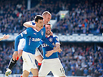 Haris Vuckic celebrates his goal for Rangers with Kenny Miller and Nicky Clark