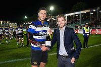 Man of the Match Matt Banahan of Bath Rugby is presented with his bottle of Pol Roger champagne after the game. Aviva Premiership match, between Bath Rugby and Sale Sharks on October 7, 2016 at the Recreation Ground in Bath, England. Photo by: Patrick Khachfe / Onside Images