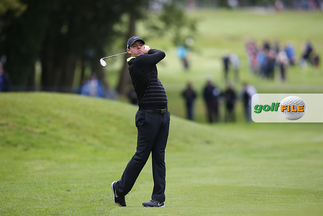 Rory MCILROY (NIR) plays to the 16th during the Pro-Am ahead of the 2015 BMW PGA Championship over the West Course at Wentworth, Virginia Water, London. Picture David lloyd, www.golffile.ie: 20/05/2015