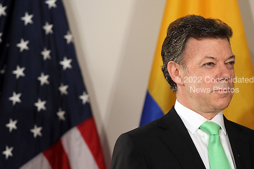 President Juan Manuel Santos Calderon of Colombia attends a bilateral meeting with United States President Barack Obama (not pictured), Friday, September 24, 2010 in New York City. Obama has been in New York since Wednesday attending the annual General Assembly at the United Nations, where yesterday he stressed the need for a resolution between Israel and Palestine, and a renewed international effort to keep Iran from attaining nuclear weapons.  .Credit: Spencer Platt - Pool via CNP