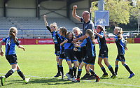 20190422 - Denderleeuw , BELGIUM : West Flame's players pictured celebrating their win during the Under 13 final of Belgian cup - 'cup Jella Lauwens ' 2019 , a soccer women game between KRC Genk Ladies and The West Flames Club Brugge  , in the  Van Roystadion in Denderleeuw , Monday 22 th April 2019 . PHOTO SPORTPIX.BE | DAVID CATRY