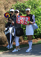 Fans of Jeunghun Wang (KOR) on the 11th during Round 3 of the Hero Indian Open at the DLF Golf and Country Club on Saturday 10th March 2018.<br /> Picture:  Thos Caffrey / www.golffile.ie<br /> <br /> All photo usage must carry mandatory copyright credit (&copy; Golffile | Thos Caffrey)