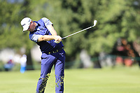 Peter Hanson (SWE) plays his 2nd shot on the 15th hole during Thursday's Round 1 of the 2017 Omega European Masters held at Golf Club Crans-Sur-Sierre, Crans Montana, Switzerland. 7th September 2017.<br /> Picture: Eoin Clarke | Golffile<br /> <br /> <br /> All photos usage must carry mandatory copyright credit (&copy; Golffile | Eoin Clarke)