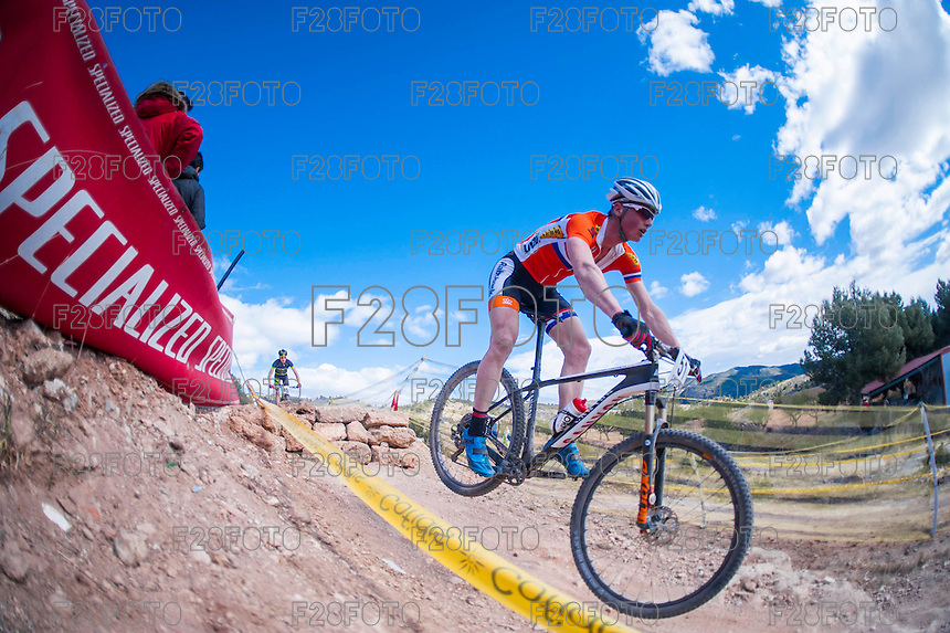 Chelva, SPAIN - MARCH 6: Perry Van Den Bos during Spanish Open BTT XCO on March 6, 2016 in Chelva, Spain