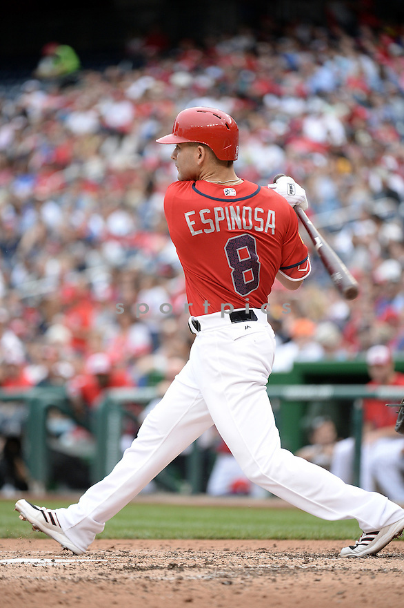 Washington Nationals Danny Espinosa (8) during a game against the Milwaukee Brewers on July 4, 2016, at Nationals Park in Washington DC. The Brewers beat the Nationals 1-0.