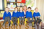 Junior infants at Kiltallagh National School, Castlemaine George Boyle, Johnny Horgan, Kate Flaherty, Frank Wharton and Oscar Hanley pictured with their teacher Caroline Cronin on Tuesday.............................................................................................................