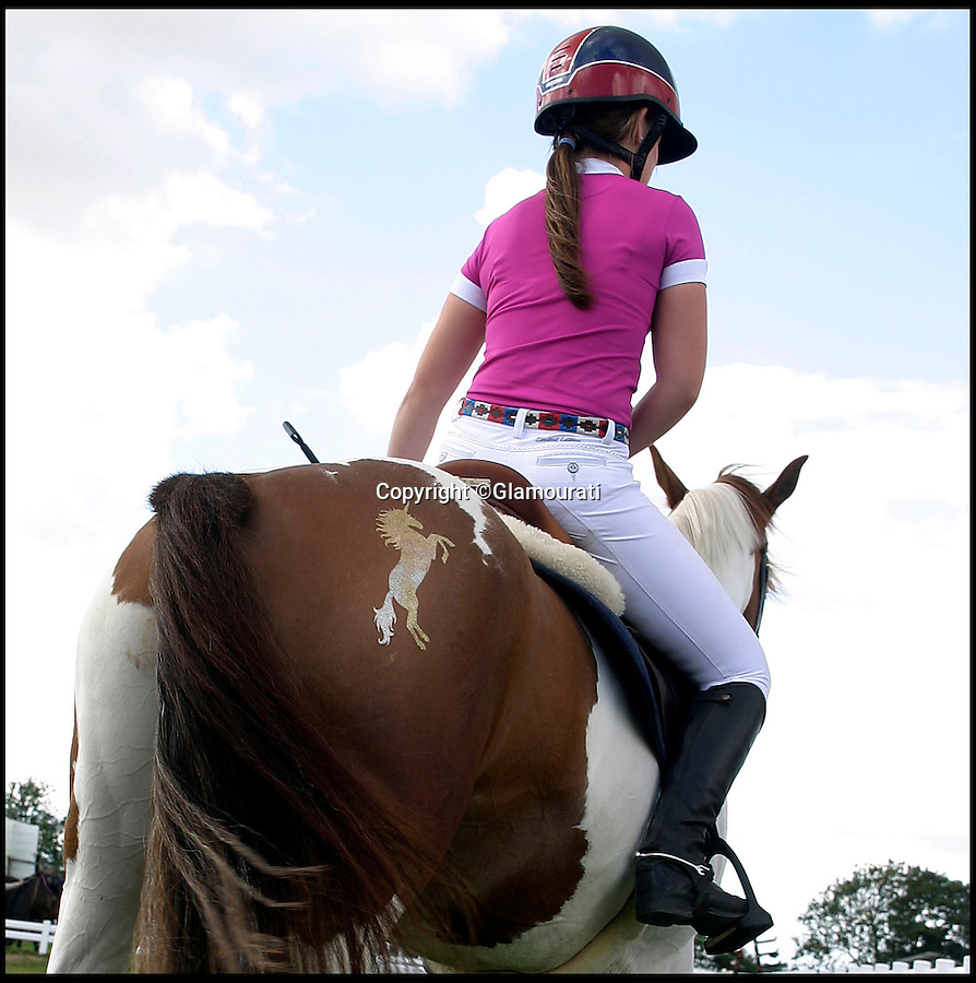 BNPs.co.uk (01202 558833)<br /> Pic: Glamourati/BNPS<br /> <br /> ***Please Use Full Byline***<br /> <br /> A rider brandishes the Glamourati product on her horse. <br /> <br /> <br /> A mum of two is taking the equestrian world by storm after inventing temporary tattoos for horses made from glitter.<br /> <br /> Entrepreneurial Sally Rees, 40, dreamed up the idea for the sparkly marks while looking for a way to generate extra income while looking after her two young children at home.<br /> <br /> The former beauty spa director was painting children's faces with glittery designs at parties when it dawned on her that she could transfer her skill to horses.<br /> <br /> A year after her eureka moment Sally has turned her idea into a fully-fledged business that is catching the eye of the horse owners and riders around the country.<br /> <br /> Sally's equestrian glitter tattoo kits cost between £19.99 and £59.99 and can be bought from her website glamouratiuk.com.