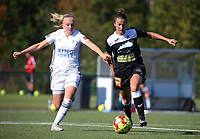 20190921 – LEUVEN, BELGIUM : OHL's Lisa Vanhentenrijk (left) and E. Aalst's Evy de Smedt (right) are pictured during a women soccer game between  Oud Heverlee Leuven Ladies B and Eendracht Aalst Ladies on the fourth matchday of the Belgian Division 1 season 2019-2020, the Belgian women's football  national division 1, Saturday 21th September 2019 at the Bruinveld Youth Complex, Domeinstraat in Leuven , Belgium. PHOTO SPORTPIX.BE | SEVIL OKTEM