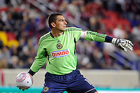 Philadelphia Union goalkeeper Faryd Mondragon (1). The New York Red Bulls defeated the Philadelphia Union  1-0 during a Major League Soccer (MLS) match at Red Bull Arena in Harrison, NJ, on October 20, 2011.