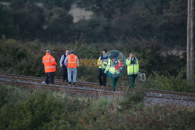 The Main Dublin Belfast rail line closed after the train from Drogheda to Dublin hit and killed a male on the line about a mile outside drogheda.Photo: Fran Caffrey/www.newsfile.ie.
