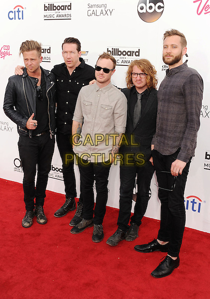LAS VEGAS, CA- MAY 18: Musicians Ryan Tedder, Drew Brown, Eddie Fisher, Brent Kutzle and Zach Filkins of OneRepublic arrives at the 2014 Billboard Music Awards at the MGM Grand Garden Arena on May 18, 2014 in Las Vegas, Nevada.<br /> CAP/ROT/TM<br /> &copy;TM/Roth Stock/Capital Pictures