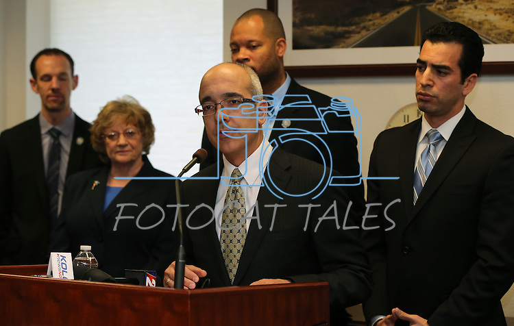 Surrounded by Nevada Senate Democrats, Senate Majority Leader Mo Denis, D-Las Vegas, speaks at a press conference on Tuesday, Feb. 19, 2013, at the Legislative Building in Carson City, Nev. From left, rear are Senators Justin Jones, Joyce Woodhouse, Aaron Forda and Ruben Kihuen..Photo by Cathleen Allison