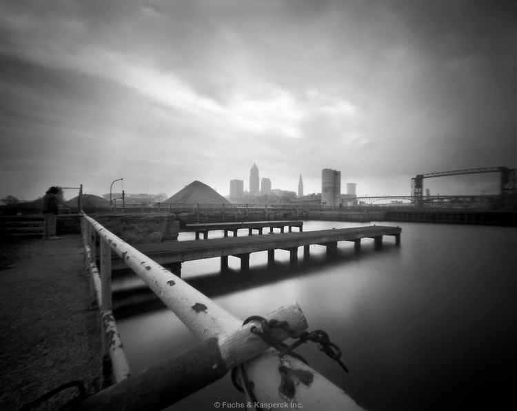 The skyline of Cleveland can be seen on a story day from the old Coast Guard Station on Whiskey Island at the mouth of the Cuyahoga River.