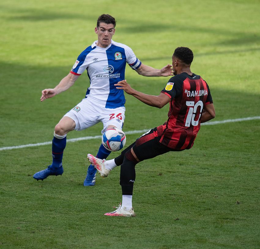 Blackburn Rovers' Darragh Lenihan (left) battles for possession with Bournemouth's Arnaut Danjuma (right) <br /> <br /> Photographer David Horton/CameraSport <br /> <br /> The EFL Sky Bet Championship - Bournemouth v Blackburn Rovers - Saturday September 12th 2020 - Vitality Stadium - Bournemouth<br /> <br /> World Copyright © 2020 CameraSport. All rights reserved. 43 Linden Ave. Countesthorpe. Leicester. England. LE8 5PG - Tel: +44 (0) 116 277 4147 - admin@camerasport.com - www.camerasport.com