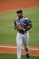 Tampa Yankees right fielder Jhalan Jackson (38) jogs back to the dugout during the second game of a doubleheader against the Bradenton Marauders on June 14, 2017 at LECOM Park in Bradenton, Florida.  Tampa defeated Bradenton 5-1.  (Mike Janes/Four Seam Images)