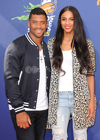 LOS ANGELES, CA - JULY 16:  Russell Wilson and Ciara at the Nickelodeon Kids Choice Sports 2015 at the Pauley Pavilion on July 16, 2015 in Los Angeles, California. Credit: PGSK/MediaPunch