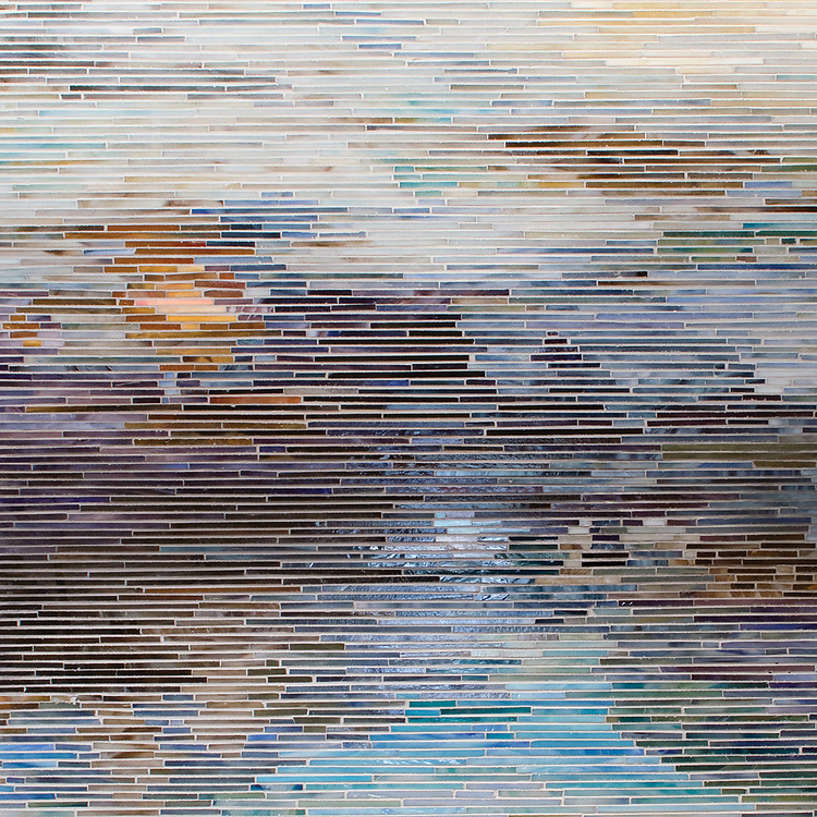 Black Pool, a hand-cut mosaic, shown in multiple shades of jewel glass, is based on an oil painting by Gail Miller. This design is part of the Broad Street™ collection by New Ravenna.