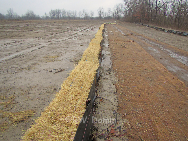 silt fence and straw bale erosion control