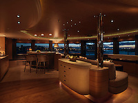 The observation lounge has a bar and comfortable seating area and a spectacular view