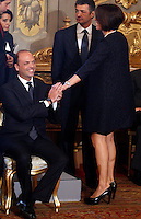 Il Ministro delle Politiche Agricole e Forestali Nunzia De Girolamo stringe la mano al Ministro dell'Interno e vice primo ministro Angelino Alfano, sinistra, alla cerimonia del giuramento del nuovo governo al Quirinale, Roma, 28 aprile 2013..Italian Agriculture Minister Nunzia De Girolamo shakes hands with Interior Minister and Deputy Premier Angelino Alfano, left, during the swearing in ceremony of the new government at the Quirinale presidential palace Rome, 28 April 2013..UPDATE IMAGES PRESS/Riccardo De Luca