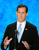 Former United States Senator Rick Santorum (Republican of Pennsylvania), a candidate for the GOP Presidential nomination, makes remarks at the 2012 Republican National Convention in Tampa Bay, Florida on Tuesday, August 28, 2012.  .Credit: Ron Sachs / CNP.(RESTRICTION: NO New York or New Jersey Newspapers or newspapers within a 75 mile radius of New York City)