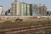 milano, periferia sud. ex scalo merci ferroviario di porta romana in disuso --- milan, south periphery. former railway merchandise port of call of Milan Romana Gate now in disuse