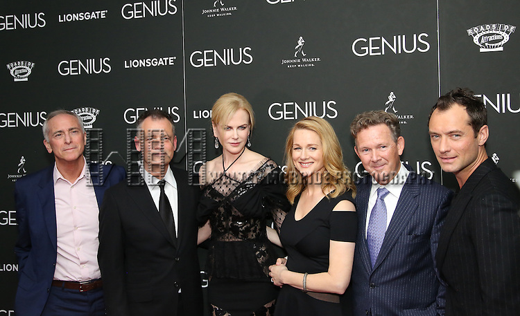 A. Scott Berg, Michael Grandage, Nicole Kidman, Laura Linney, John Logan and Jude Law attends 'Genius' New York premiere at Museum of Modern Art on June 5, 2016 in New York City.